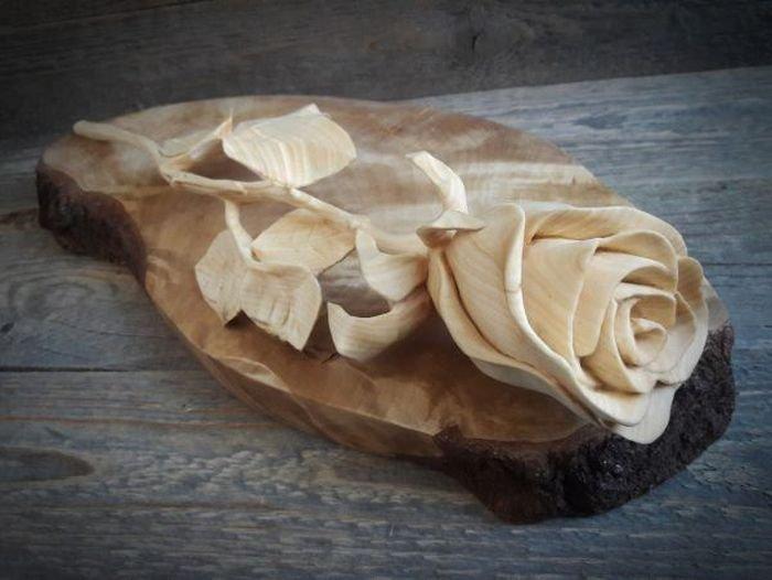 Роза из куска дерева брусок, прямые руки, талант
