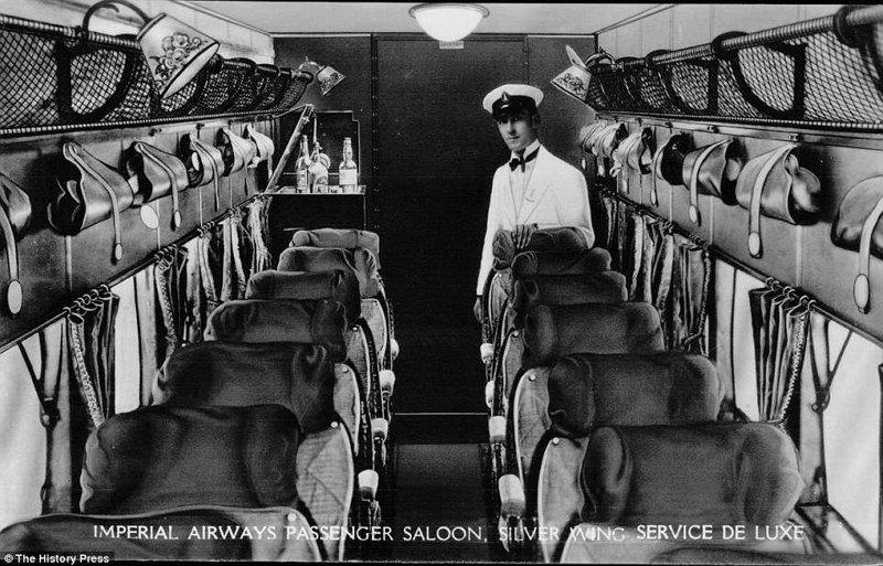 Салон одного из ранних самолетов Imperial Airways авиалайнер, авиация, интересно, исторические фото, история, книги, редкие фото, самолеты