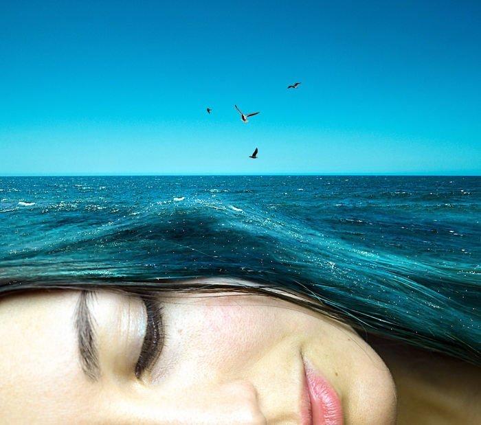5. Чайки над морем Моника Карвальо, работа, сюрреализм, творчество, фотография, фотомонтаж