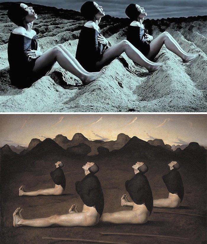"""6. Фильм: """"Клетка"""" (Тарсем Сингх, 2000). Картина: """"Рассвет"""" (Одд Нердрум, 1989) воссоздание, воссоздание шедевров, живопись, картины, кино, копирование, повторение, сравнение"""