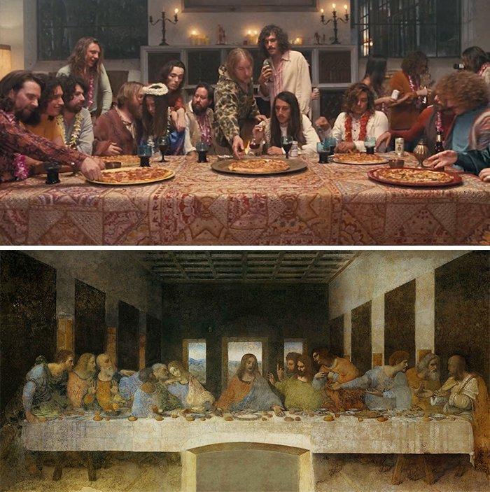 """7. Фильм: """"Врождённый порок"""" (Пол Томас Андерсон, 2014). Картина: """"Тайная вечеря"""" (Леонардо да Винчи, 1495 - 1498) воссоздание, воссоздание шедевров, живопись, картины, кино, копирование, повторение, сравнение"""
