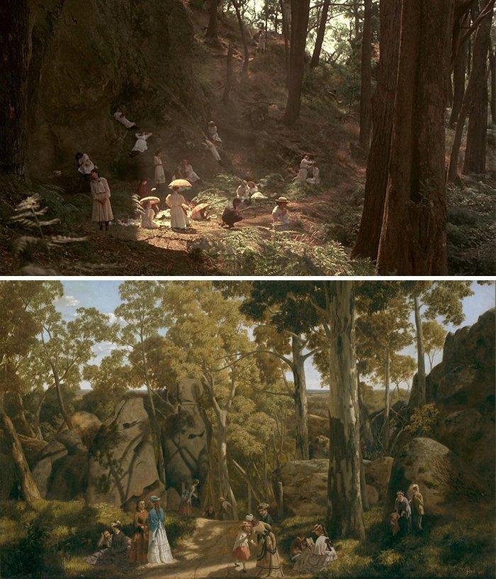 """18. Фильм: """"Пикник у Висячей скалы"""" (Питер Уир, 1975). Картина: """"У висячей скалы"""" (Уильям Форд, 1875) воссоздание, воссоздание шедевров, живопись, картины, кино, копирование, повторение, сравнение"""