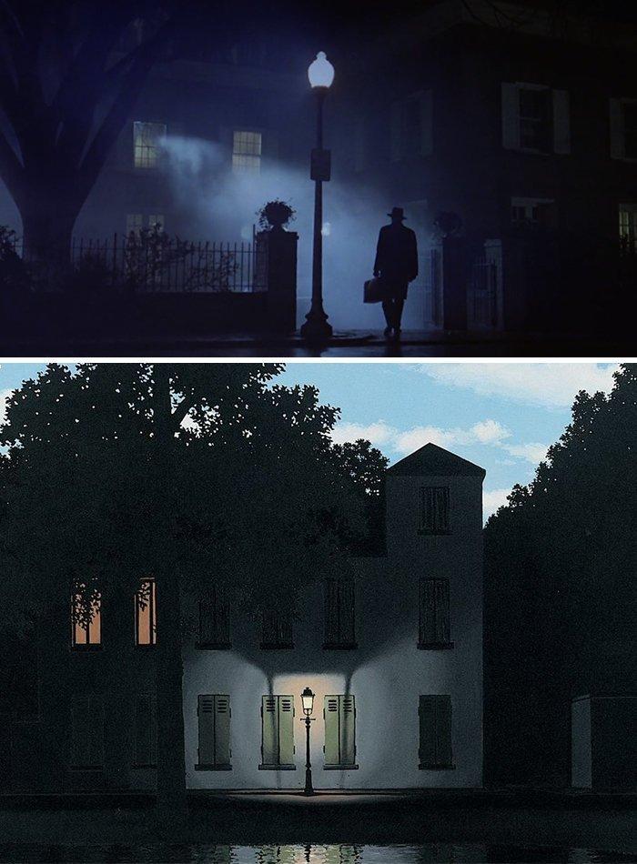 """24. Фильм: """"Изгоняющий дьявола"""" (Уильям Фридкин, 1973). Картина: """"Империя света"""" (Рене Магритт, 1954) воссоздание, воссоздание шедевров, живопись, картины, кино, копирование, повторение, сравнение"""