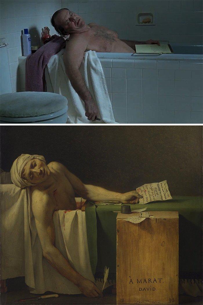 """4. Фильм: """"О Шмидте"""" (Александр Пэйн, 2002). Картина: """"Смерть Марата"""" (Жак-Луи Давид, 1793) воссоздание, воссоздание шедевров, живопись, картины, кино, копирование, повторение, сравнение"""
