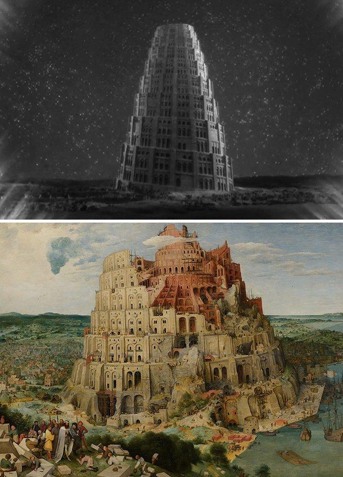"""19. Фильм: """"Метрополис"""" (Фриц Ланг, 1927). Картина: """"Вавилонская башня"""" (Питер Брейгель, 1563) воссоздание, воссоздание шедевров, живопись, картины, кино, копирование, повторение, сравнение"""