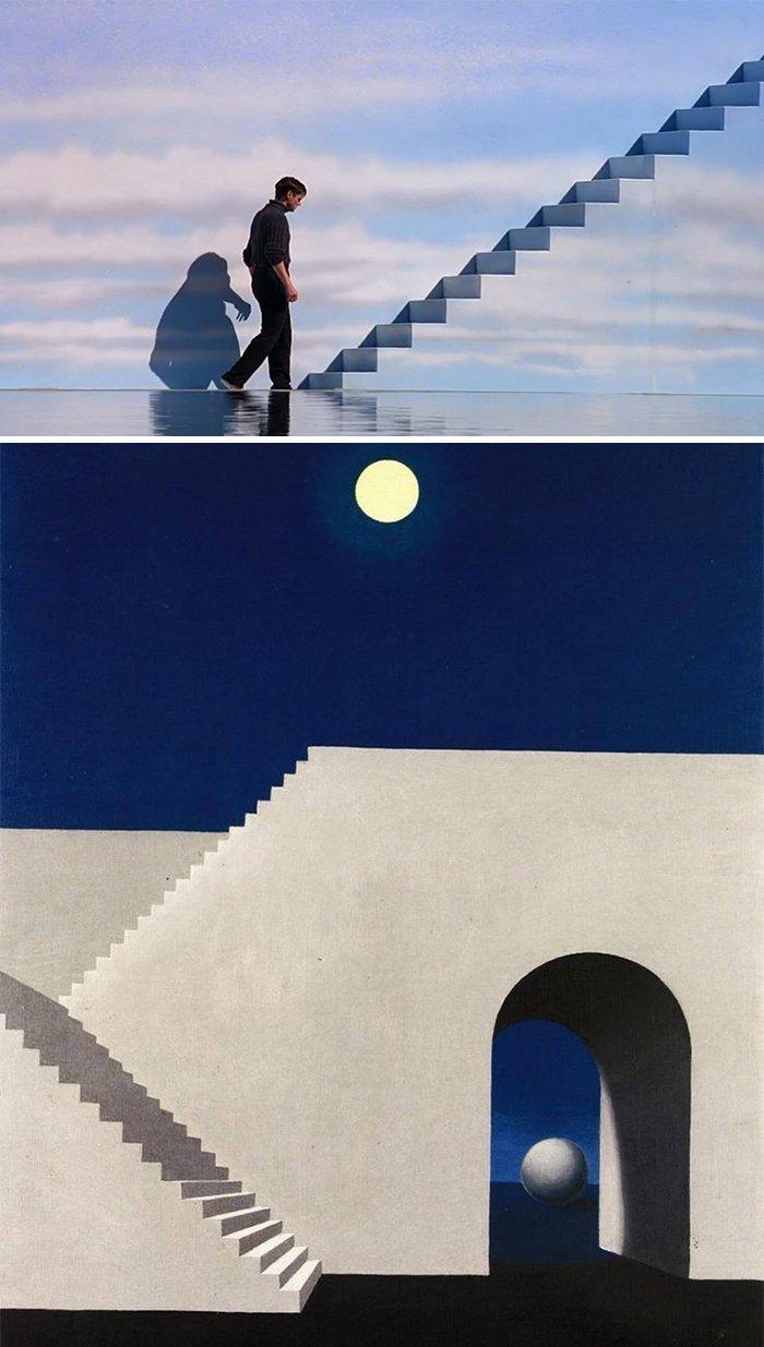 """15. Фильм: """"Шоу Трумана"""" (Питер Уир, 1998). Картина: """"Архитектура при свете луны"""" (Рене Магритт, 1956) воссоздание, воссоздание шедевров, живопись, картины, кино, копирование, повторение, сравнение"""