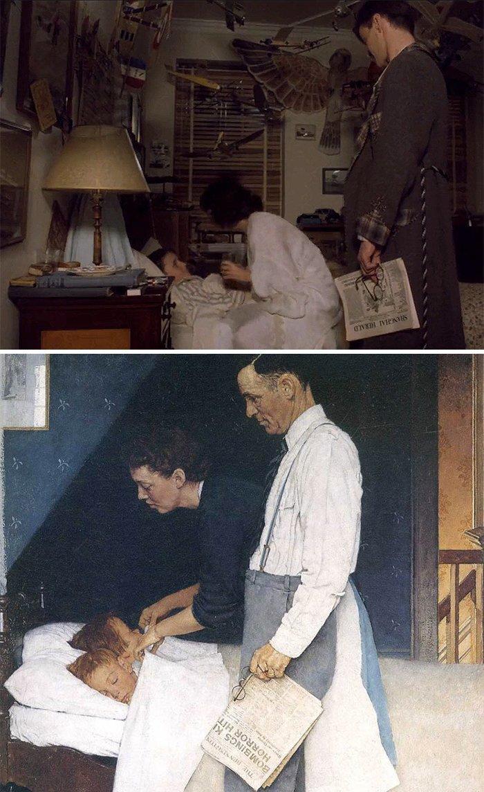"""22. Фильм: """"Империя солнца"""" (Стивен Спилберг, 1987). Картина: """"Свобода от страха"""" (Норман Роквелл, 1941 - 1943) воссоздание, воссоздание шедевров, живопись, картины, кино, копирование, повторение, сравнение"""