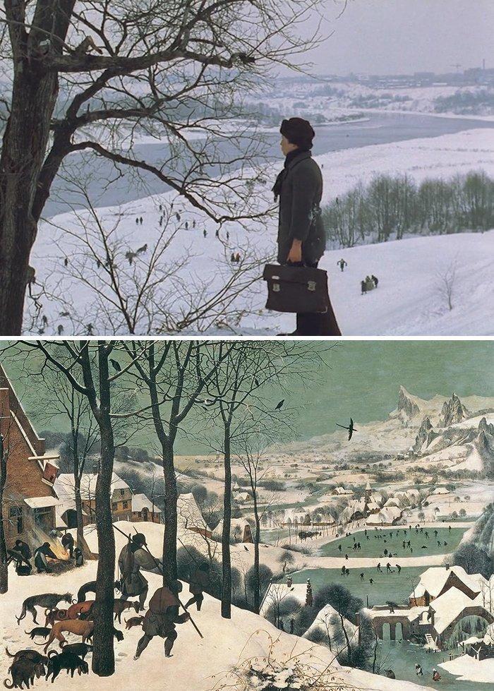 """25. Фильм: """"Зеркало"""" (Андрей Тарковский, 1975). Картина: """"Охотники на снегу"""" (Питер Брейгель, 1565) воссоздание, воссоздание шедевров, живопись, картины, кино, копирование, повторение, сравнение"""