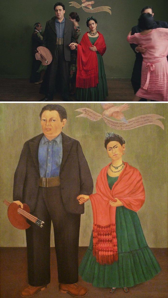 """5. Фильм: """"Фрида"""" (Джули Тэймор, 2002). Картина: """"Фрида и Диего Ривера"""" (Фрида Кало, 1931) воссоздание, воссоздание шедевров, живопись, картины, кино, копирование, повторение, сравнение"""