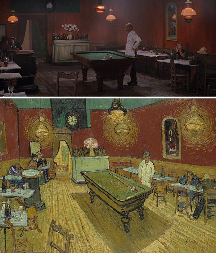 """8. Фильм: """"Жажда жизни"""" (Винсент Миннелли, 1956). Картина: """"Ночное кафе"""" (Винсент ван Гог, 1888) воссоздание, воссоздание шедевров, живопись, картины, кино, копирование, повторение, сравнение"""