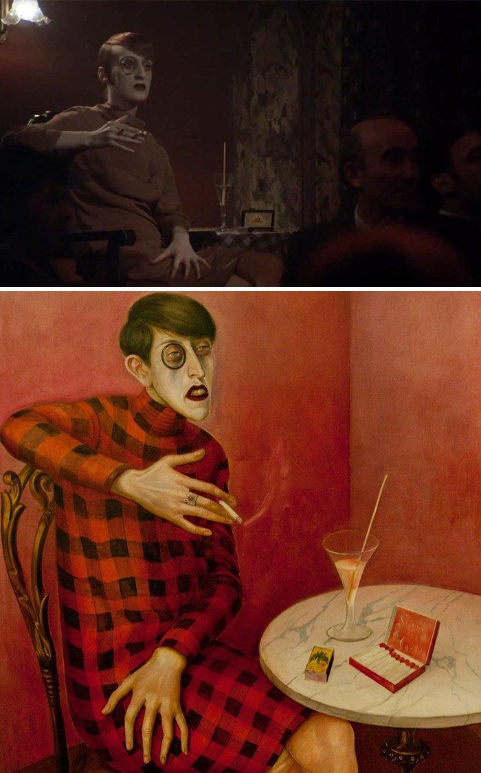 """1. Фильм: """"Кабаре"""" (Боб Фосс, 1972). Картина: """"Портрет журналистки Сильвии фон Харден"""" (Отто Дикс, 1926) воссоздание, воссоздание шедевров, живопись, картины, кино, копирование, повторение, сравнение"""