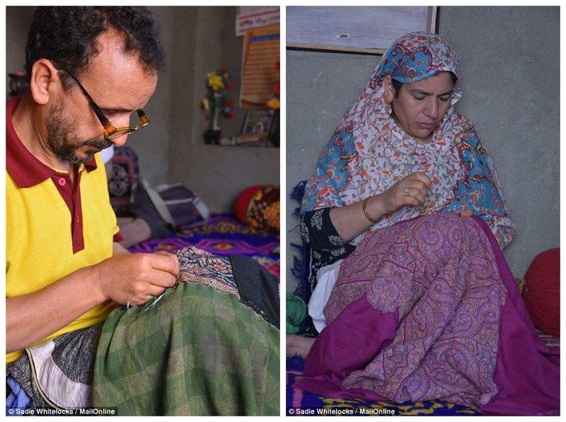 Эта работа требует огромного мастерства, точного взгляда, точной руки, художественного чутья и терпения Кашмир, вышивка, индия, мастерство, палантин, ремесло, ткачество, ткачи