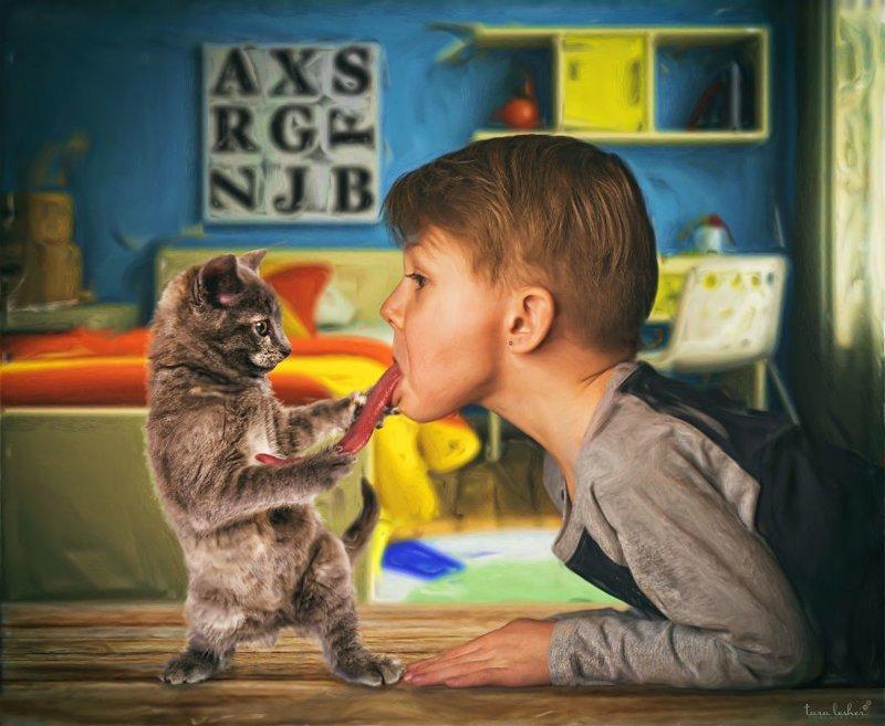 3. Cat Got Your Tongue - Кот вырвал твой язык (Язык проглотил) английские, выражения, забавные картинки, идиомы, иллюстрации, перевод на русский, познавательно, фотограф
