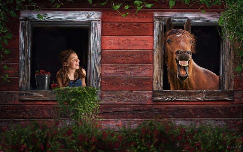 13. Straight From The Horses Mouth - Прямо из лошадиного рта (Из первых уст) английские, выражения, забавные картинки, идиомы, иллюстрации, перевод на русский, познавательно, фотограф