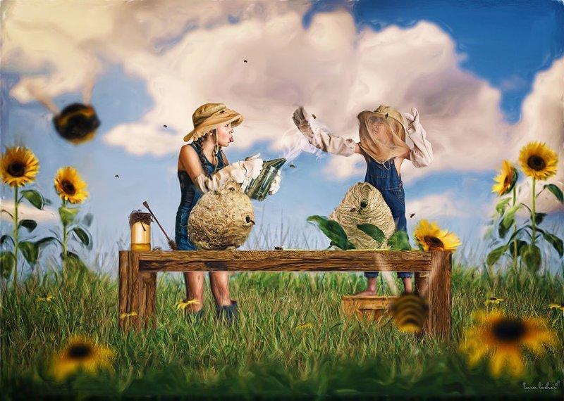 18. Mind You Own Beeswax - Следи за собственным пчелиным воском (Не лезь не в свое дело) английские, выражения, забавные картинки, идиомы, иллюстрации, перевод на русский, познавательно, фотограф