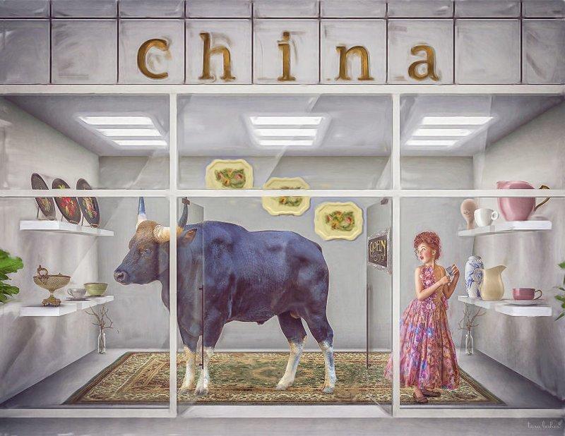 19. Bull In A China Shop - Бык в китайском магазине (Слон в посудной лавке) английские, выражения, забавные картинки, идиомы, иллюстрации, перевод на русский, познавательно, фотограф