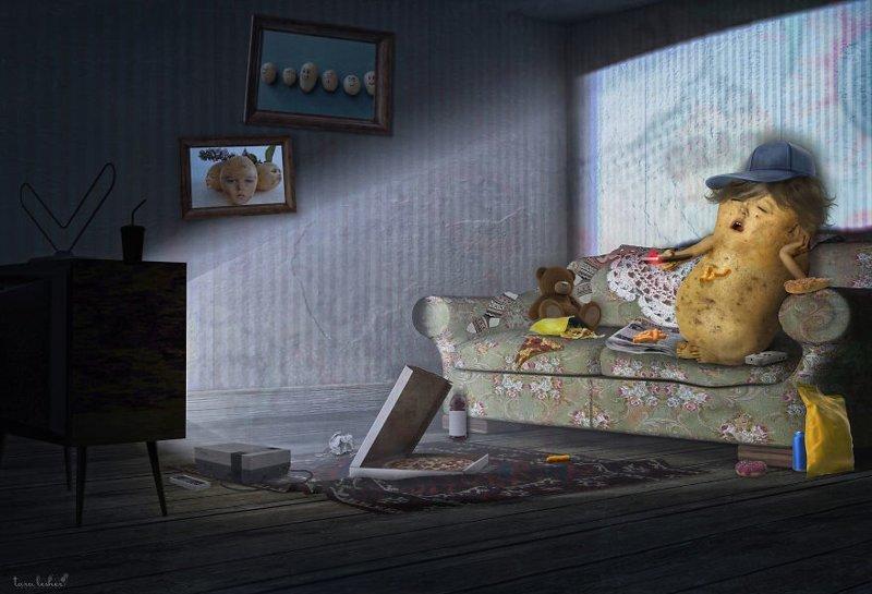 1. Coach Potato - Диванная Картошка (Лежебока) английские, выражения, забавные картинки, идиомы, иллюстрации, перевод на русский, познавательно, фотограф