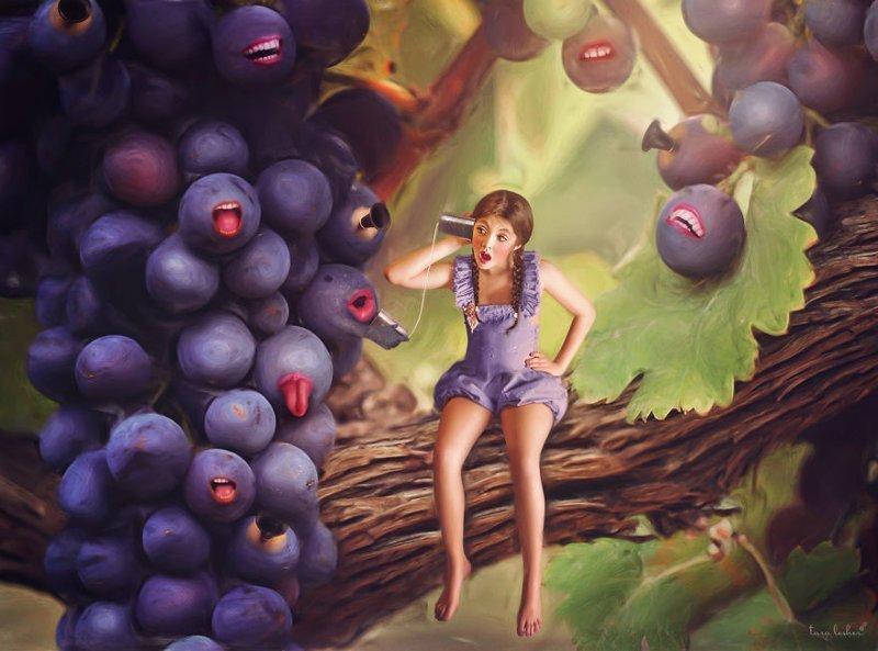 """8. Heard It Through The Grapevine - Услышал через виноградную лозу (Услышал по """"сарафанному радио"""", дошли слухи) английские, выражения, забавные картинки, идиомы, иллюстрации, перевод на русский, познавательно, фотограф"""