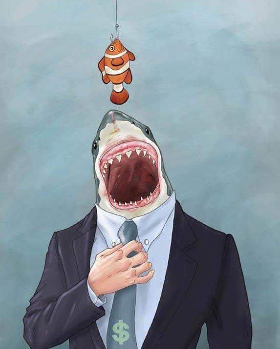 9. Всегда найдется рыба покрупнее! В этом, по мнению художника, вся суть капитализма Luis Quiles, жестокая правда, иллюстрации, рисунки, треш, художник
