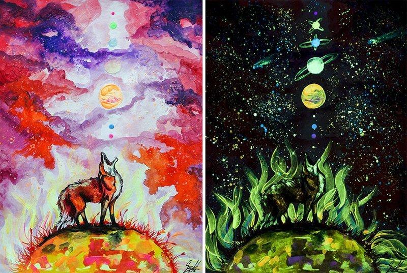 Эти картины раскрывают свой истинный смысл только в темноте двойной смысл, живопись, интересно, искусство, картины, необычно, свет и темнота, удивительно