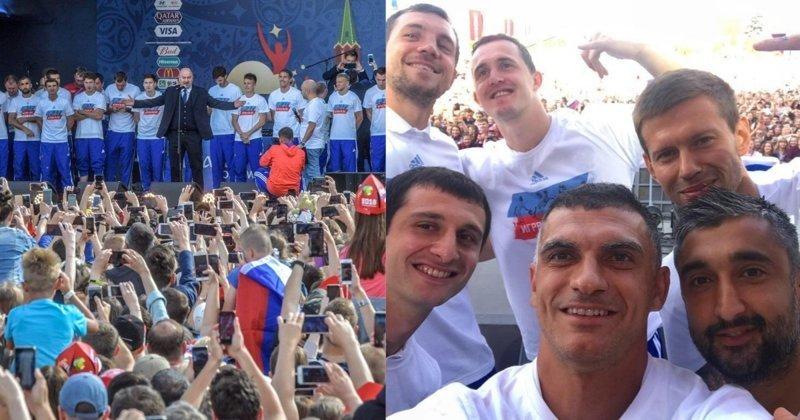 Футболисты сборной России встретились с болельщиками и поблагодарили за поддержку болельщики, видео, встреча, москва, сборная россии, спорт, фанаты, футбол