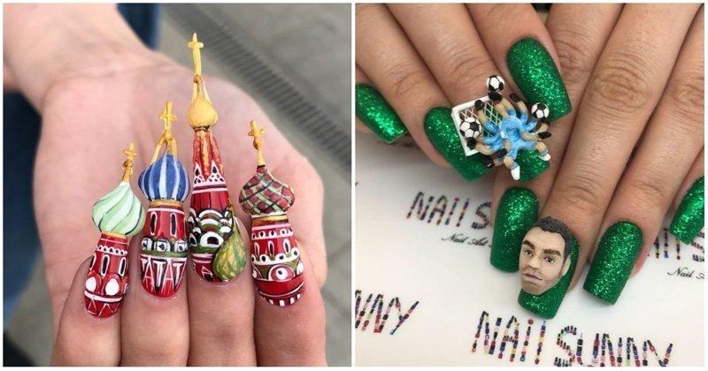 Маникюрный салон воплощает самые безумные идеи на ногтях клиентов интересное, искусство, креатив, маникюр, мастерство, россия, украшение