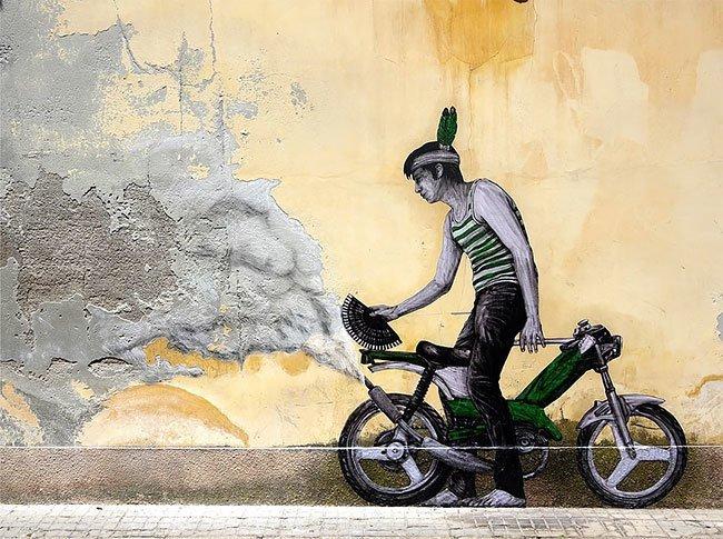 Художник, который умеет оживлять скучные городские закоулки графика, круто, париж, стрит-арт, стритарт, трафареты, уличное искусство, художник