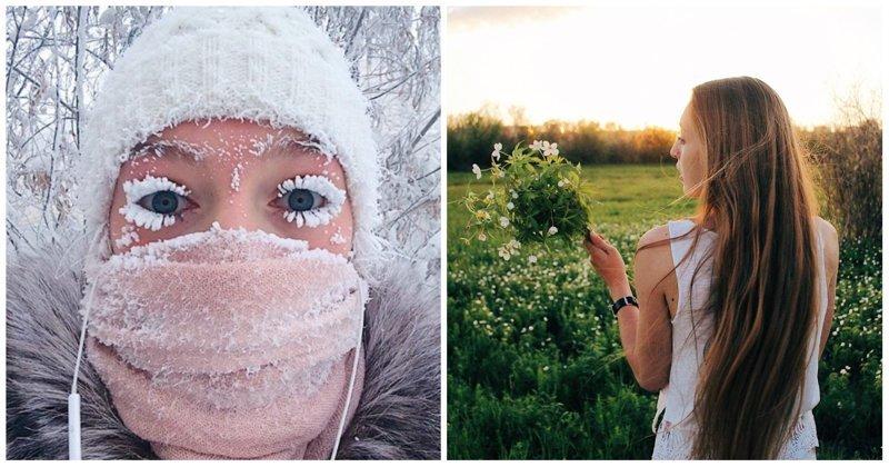 Девушка с замерзшими ресницами показала новую якутскую боль в мире, девушка, комары, ресницы, россия, якутия, якутск