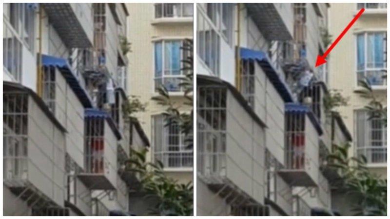 Старик спас малыша, который вывалился с третьего этажа ynews, видео, дети, доброта, интересное, милота, спасение