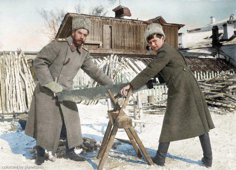 Николай Романов с сыном Алексеем. Тобольск 1918г colorized by planetzero, planetzerocolor, колоризация, цветные фотографии начала 20 века