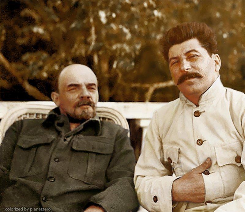 Ленин и Сталин в Горках 1922г. colorized by planetzero, planetzerocolor, колоризация, цветные фотографии начала 20 века