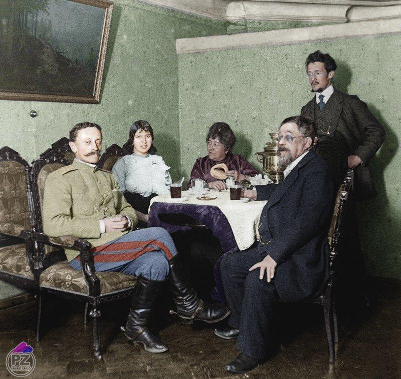 Чаепитие. Ярославль 1900-е colorized by planetzero, planetzerocolor, колоризация, цветные фотографии начала 20 века