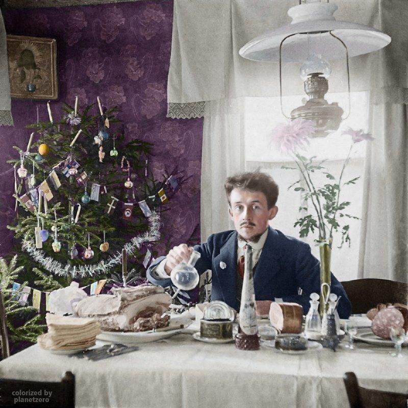 Рождественский обед. Ярославль. 1900г. colorized by planetzero, planetzerocolor, колоризация, цветные фотографии начала 20 века