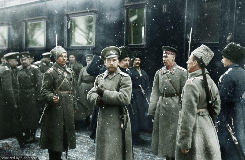 Прибытие Николая II в расположение 1-й Армии, 30 января 1916 года colorized by planetzero, planetzerocolor, колоризация, цветные фотографии начала 20 века