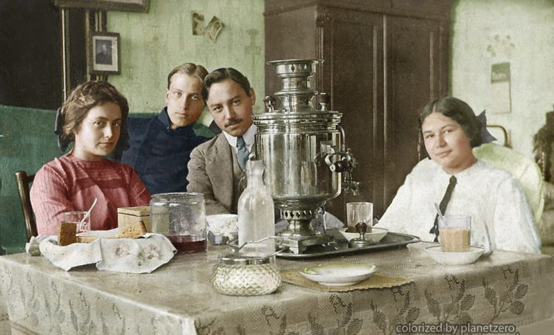 Чаепитие. 1900-е. colorized by planetzero, planetzerocolor, колоризация, цветные фотографии начала 20 века