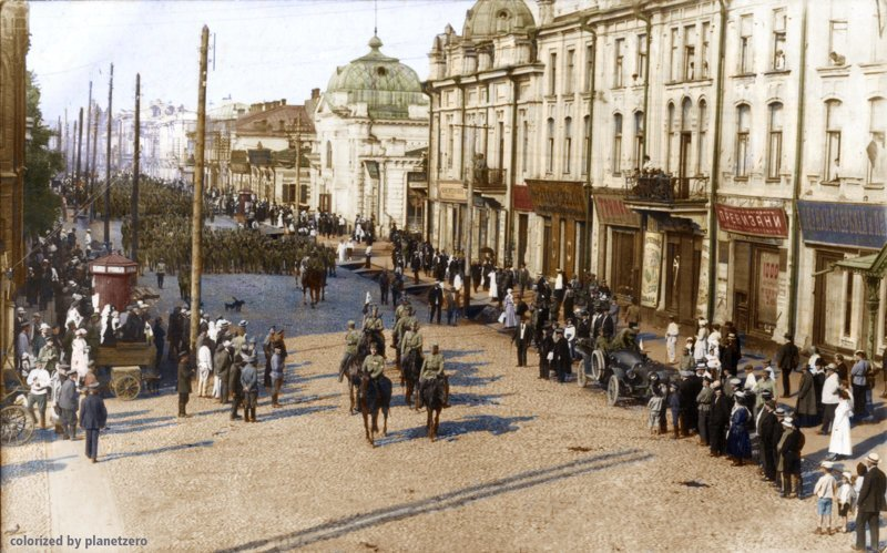 Вхождение чехов в Иркутск 28 июля 1918 г. colorized by planetzero, planetzerocolor, колоризация, цветные фотографии начала 20 века