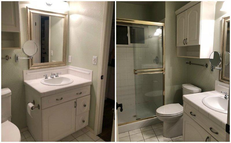 2. Вот так выглядела ванная до ремонта.  из прошлого, неожиданно, послание, ремонт, странные вещи, сша, сюрприз, фото