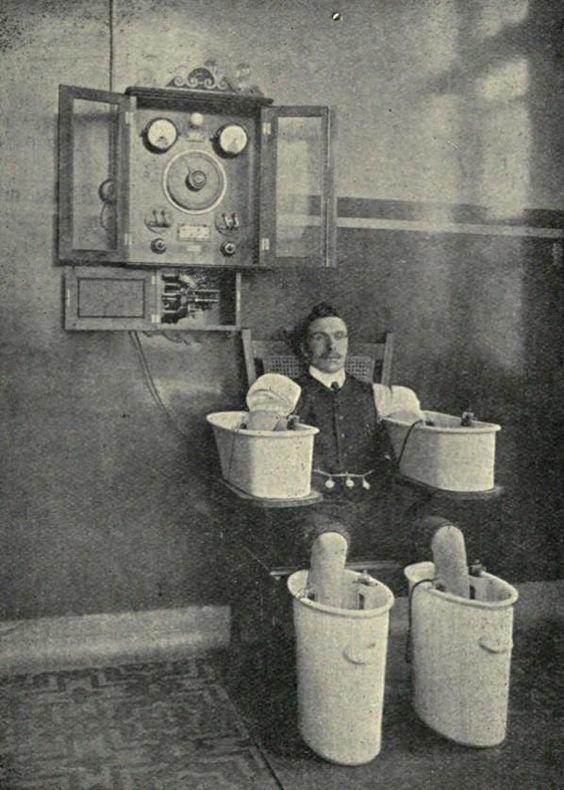 14. Электрические ванны, 1910 изобретения, исторические фото, медицина, медицина прошлого, оборудование, рентгеновский аппарат, фото