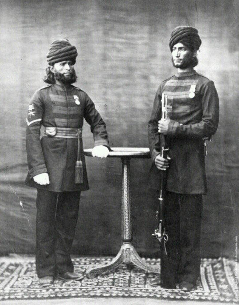 Униформа солдат армии Британской Индии в 1850 году  индия, интересное, история, личность, прошлое, событие, фотография, фотомир