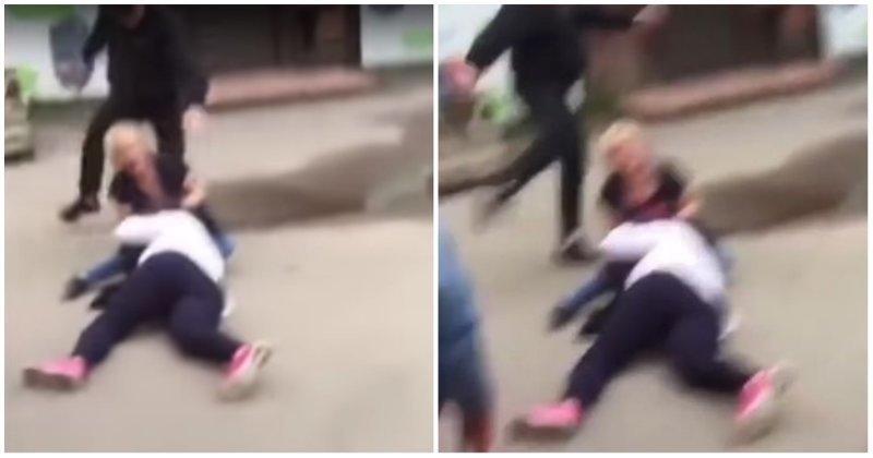 Мужчина разнял женскую драку, ударив одну из женщин ногой по голове Вышний Волочек, видео, драка, конфликт, нокаут, сотрясение, тверь