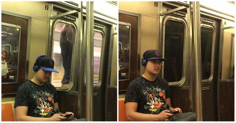 Пассажир нью-йоркского метро прокатился снаружи поезда, зацепившись за двери вагона видео, зацепер, идиот, метро, нью-йорк, поезд, сша