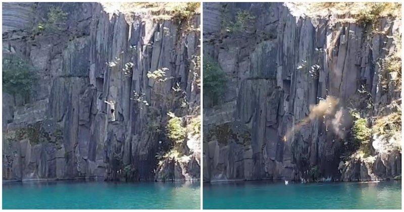 Отчаянный парень спрыгнул с утеса в водоем, и вслед за ним обрушился кусок скалы в мире, видео, последствия, прыжок, утес, уэльс, экстрим