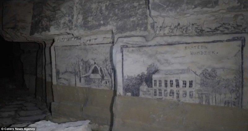 По словам Боба, на юге Нидерландов можно встретить множество подземных каменоломен. искусство, исследования, история, каменоломни, находки, нидерланды, под землей, рисунок