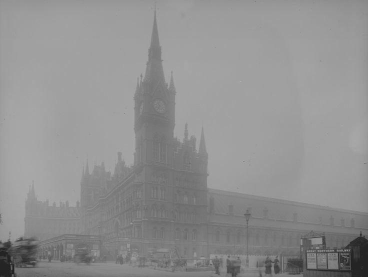 А это вид на железнодорожный вокзал Сент-Панкрас, 1907 англия, лондон, погода, туман, туман-убийца, фото