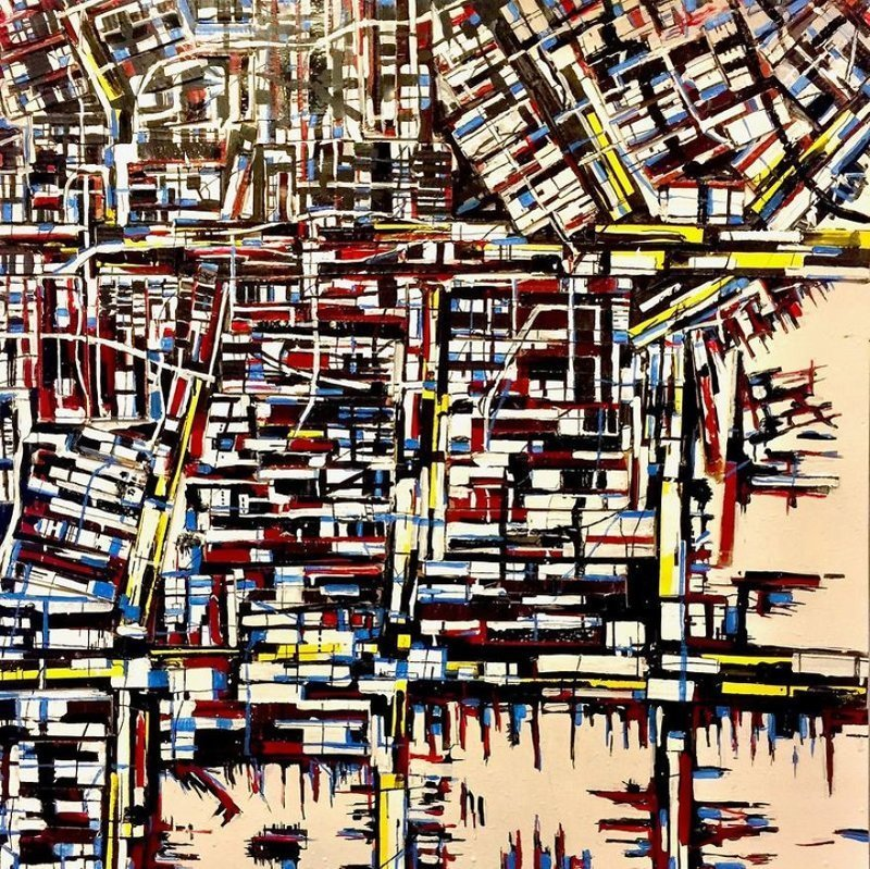2. Вид сверху на оживленный город, куча книг, или что-то другое? Произведения искусства, Что происходит, искусство, картины, подборка, странное искусство, странные картины, художники