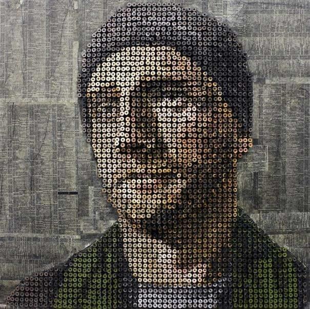 Такие портреты изготавливает Эндрю Майерс занимательно, крепёж, крепёжное изделие, самонарезающий шуруп, саморезы, шурупы