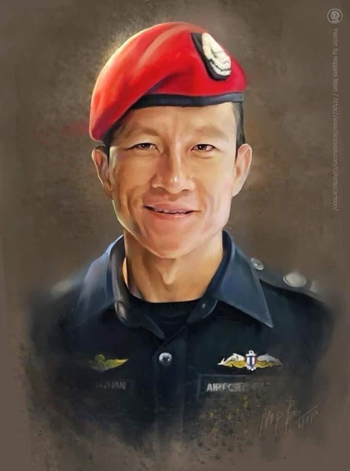 Погибший во время оказания помощи детям Саман Кунан - бывший «морской котик»  ВМС Таиланда дети, искусство, пещера, рисунки, рисунок, спасение, таиланд