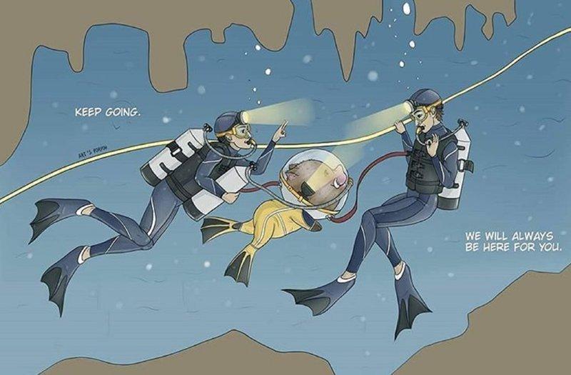 """""""Продолжай плыть. Мы всегда тебе поможем"""" дети, искусство, пещера, рисунки, рисунок, спасение, таиланд"""