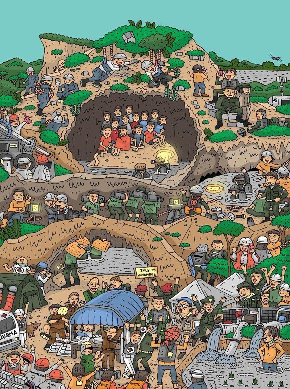 Как художники со всего мира изобразили спасение детей из пещеры в Таиланде дети, искусство, пещера, рисунки, рисунок, спасение, таиланд