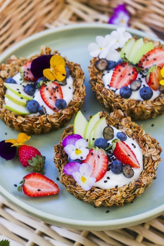 Фрукты в овсяных корзиночках еда, красота, летнее настроение, простые рецепты, фрукты